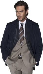 Niebieski płaszcz męski Borgio z tkaniny