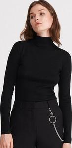 Czarna bluzka Reserved z golfem z długim rękawem w stylu casual
