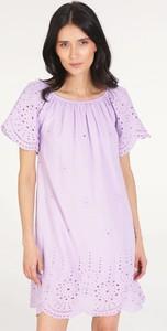 Fioletowa sukienka Unisono mini w stylu casual z bawełny