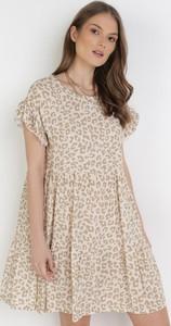Sukienka born2be z okrągłym dekoltem mini w stylu casual