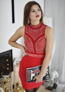 Czerwona sukienka Fason bez rękawów mini bandażowa