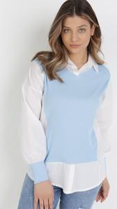 Niebieska bluzka born2be w stylu casual