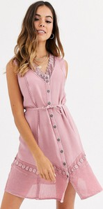 Różowa sukienka Brave Soul bez rękawów z dekoltem w kształcie litery v mini