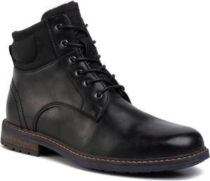 Czarne buty zimowe Lanetti ze skóry ekologicznej