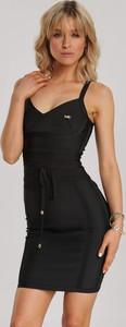 Czarna sukienka Renee bodycon z dekoltem w kształcie litery v mini