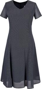 Sukienka Fokus rozkloszowana midi z krótkim rękawem