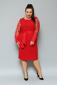 Czerwona sukienka KARKO z dzianiny midi