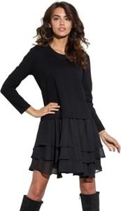 Czarna sukienka Ooh la la z długim rękawem mini