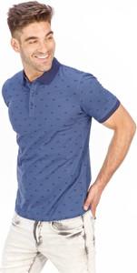 Niebieski t-shirt Lanieri Fashion z nadrukiem z krótkim rękawem