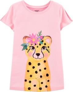 Różowa koszulka dziecięca Carter's z krótkim rękawem