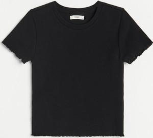 Czarny t-shirt Reserved w stylu casual z krótkim rękawem