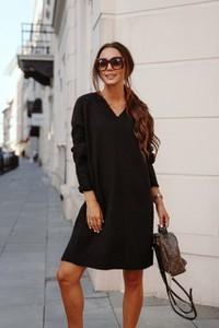 Czarna sukienka Lemoniade z moheru z długim rękawem