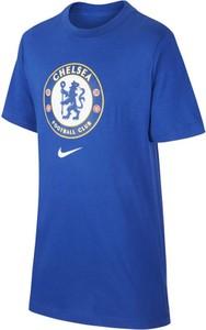 Niebieski t-shirt Nike z nadrukiem w młodzieżowym stylu z krótkim rękawem