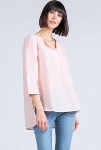 Różowa bluzka Monnari z okrągłym dekoltem w stylu casual z długim rękawem