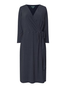 Granatowa sukienka Ralph Lauren w stylu casual z długim rękawem z dekoltem w kształcie litery v
