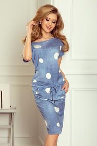 Sukienka NUMOCO z jeansu z krótkim rękawem w stylu casual