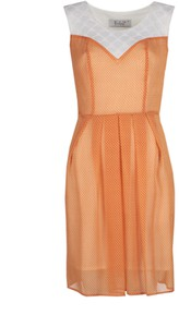 Pomarańczowa sukienka Fokus z okrągłym dekoltem mini w stylu casual