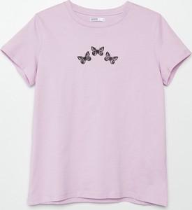 Fioletowa bluzka Cropp z bawełny z okrągłym dekoltem z krótkim rękawem