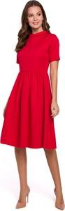 Sukienka Makover z krótkim rękawem z tkaniny rozkloszowana