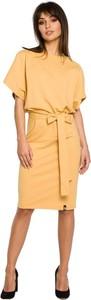 Żółta sukienka Be z krótkim rękawem midi ołówkowa