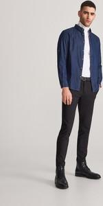 Granatowa koszula Reserved z jeansu z długim rękawem