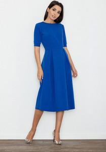 Niebieska sukienka Figl z okrągłym dekoltem midi