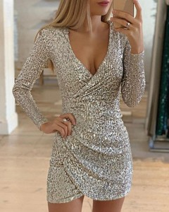 Sukienka Kendallme mini z długim rękawem kopertowa