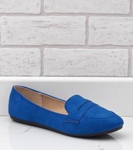 Niebieskie półbuty Gemre.com.pl w stylu casual z zamszu