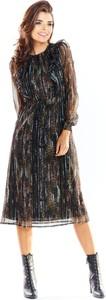 Sukienka Awama prosta z długim rękawem z szyfonu