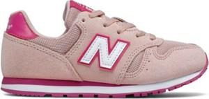 Różowe buty sportowe dziecięce New Balance sznurowane dla dziewczynek