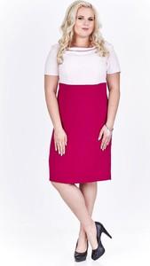 Różowa sukienka Fokus midi z okrągłym dekoltem