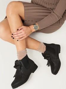 Czarne botki renee z płaską podeszwą ze skóry ekologicznej w stylu casual