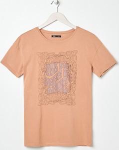 Pomarańczowy t-shirt Sinsay z okrągłym dekoltem