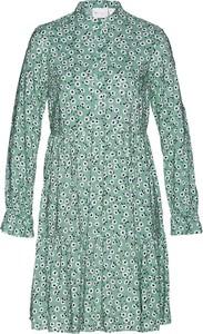 Zielona sukienka bonprix z kołnierzykiem w stylu casual mini