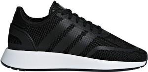 Czarne buty sportowe Adidas Originals z płaską podeszwą sznurowane ze skóry