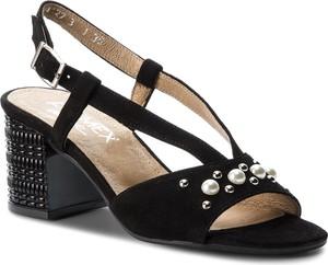 Czarne sandały Ann Mex na średnim obcasie z klamrami w stylu casual