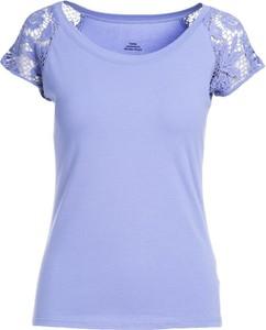 Niebieski t-shirt Multu z okrągłym dekoltem z krótkim rękawem