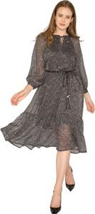 Czarna sukienka Milena Płatek z długim rękawem