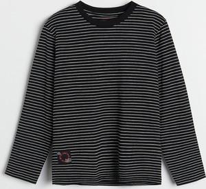 Czarna koszulka dziecięca Reserved w paseczki