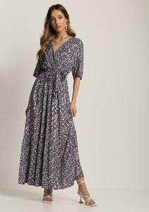 Granatowa sukienka Renee z długim rękawem z dekoltem w kształcie litery v