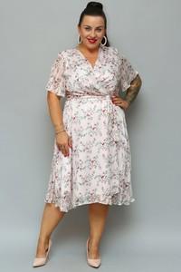 Sukienka KARKO z szyfonu z dekoltem w kształcie litery v midi