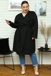 Czarny płaszcz KARKO z zamszu w stylu casual