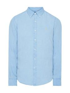 Niebieska koszula POLO RALPH LAUREN z długim rękawem z kołnierzykiem button down z lnu