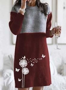 Sukienka Cikelly w stylu casual z okrągłym dekoltem z długim rękawem