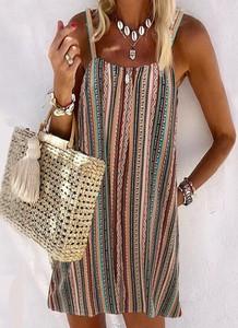 Sukienka Sandbella mini na ramiączkach w stylu boho