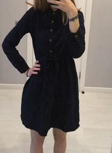 Czarna sukienka Arilook z bawełny z długim rękawem z okrągłym dekoltem