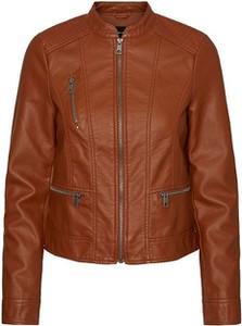 Brązowa kurtka Vero Moda krótka w stylu casual ze skóry ekologicznej