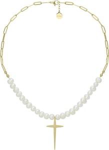 Manoki Naszyjnik pozłacany łańcuch z perłami i krzyżem ze stali szlachetnej