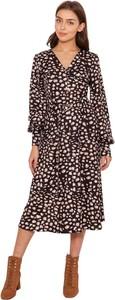 Brązowa sukienka Lanti z tkaniny z długim rękawem