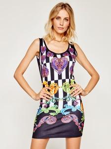 Sukienka Versace Jeans na ramiączkach mini z okrągłym dekoltem
